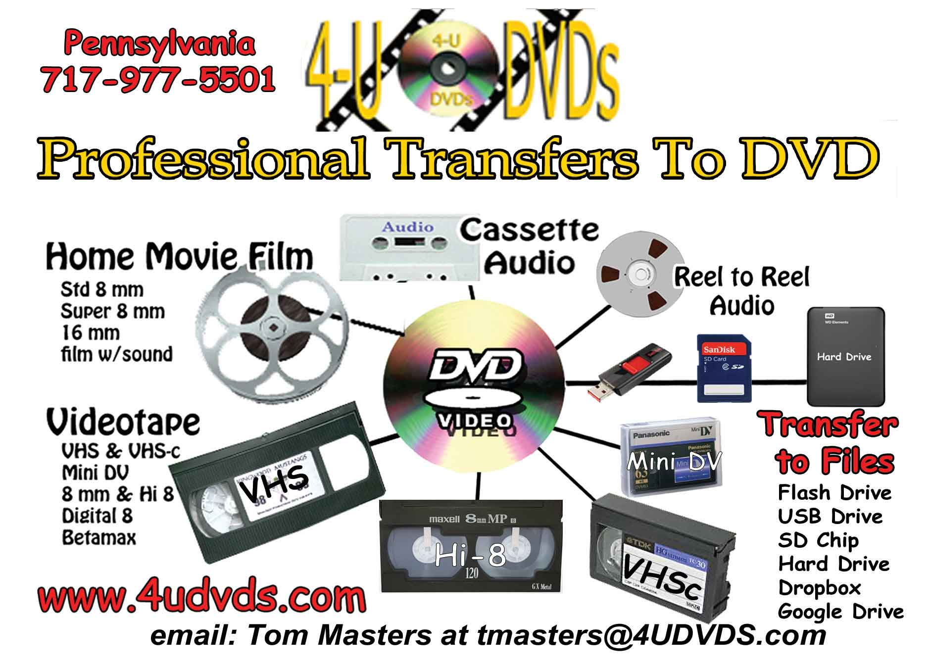 4udvds | Film Transfer, Converting VHS to DVD & CD Duplication